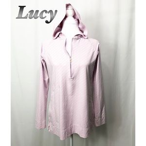 Lucy Pink Hooded Half zip Athletic Pullover LG